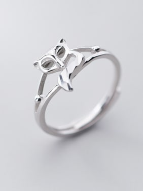 925 Sterling Silver With Platinum Plated Cute Hollow Animal Free Size Rings