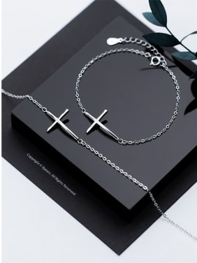 925 Sterling Silver With Platinum Plated Simplistic Cross Bracelets