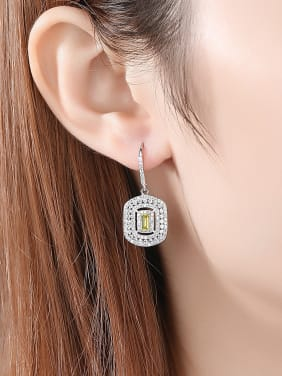 925 Sterling Silver With Platinum Plated Delicate Square Hook Earrings