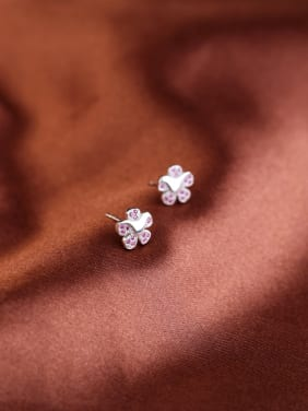 Flowers Fashion Silver Stud Earrings with Amwthyst