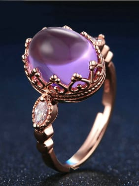 Egg-shape Natural Amethyst Silver Adjustable Ring