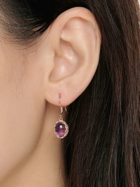 Noble Amethyst Egg-shape Silver Drop Earrings