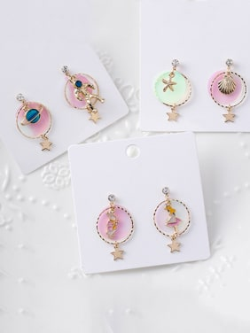 Alloy With Rose Gold Plated Cartoon Sea Star  Drop Earrings