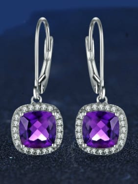 Luxury Exquisite Amethyst S925 Silver Drop Earrings
