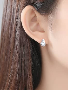 925 Sterling Silver Withd Cute Round  Crystal Stud Earrings