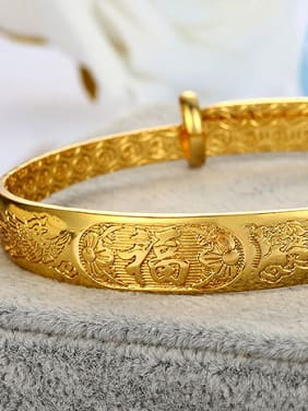 Copper Alloy 24K Gold Plated Classical Stamp Bangle