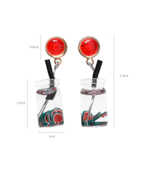 Alloy With Platinum Plated Cute Friut  Drinks Drop Earrings