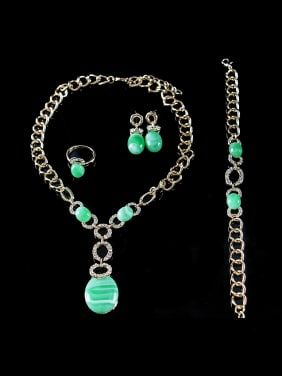Oval Artificial Stones Colorfast Four Pieces Jewelry Set