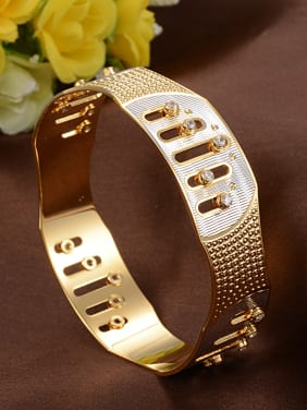 Exaggerated Cubic Zirconias Gold Plated Copper Band Bracelet