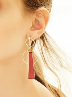 Retro style Hollow Round Red Wood Drop Earrings