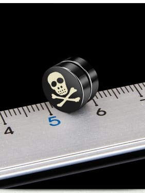 Stainless Steel With Black Gun Plated Personality Skull Stud Earrings
