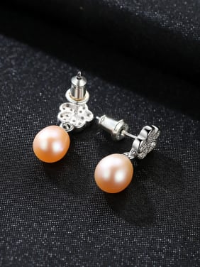 Sterling silver micro-set AAA zircon 8-9mm natural pearl earrings