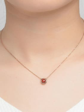 Natural Simple Round Garnet Clavicle Silver Necklace