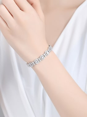 925 Sterling Silver With Platinum Plated Delicate Geometric Bracelets