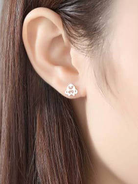 925 Sterling Silver Student animal asymmetry Stud Earrings