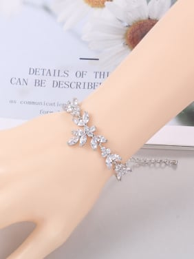 Copper With Cubic Zirconia Delicate Flower Adjustable  Bracelets