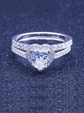 925 Sterling Silver With Cubic Zirconia Delicate Heart Stacking Rings