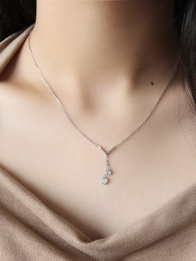 925 Sterling Silver With  Cubic Zirconia Romantic Heart Locket Necklace