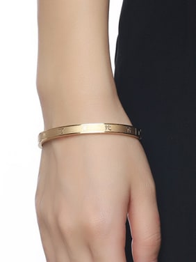 Exquisite Gold Plated Frosted Stainless Steel Bangle