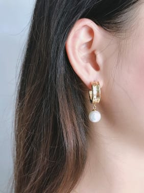 925 Sterling Silver With Gold Plated Simplistic Round Drop Earrings
