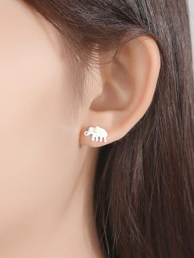 925 Sterling Silver With White Gold Plated Cute Animal Elephant Stud Earrings