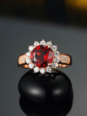 Fashion Ruby Gemstone Flowery Engagement Ring