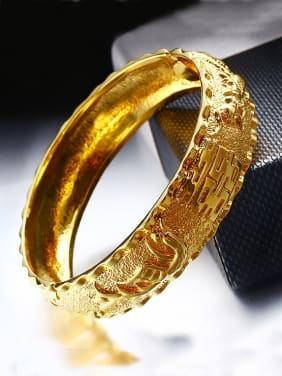 Copper Alloy 24K Gold Plated Ethnic style Dragon-phoenix Stamp Bangle