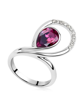 Exaggerated Water Drop Swarovski Crystal Alloy Ring