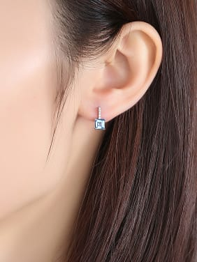 Sterling silver micro-inlaid zircon blue square synthetic topaz earring