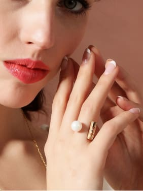 Gold Plated Alloy Artificial Pearl Opening Ring