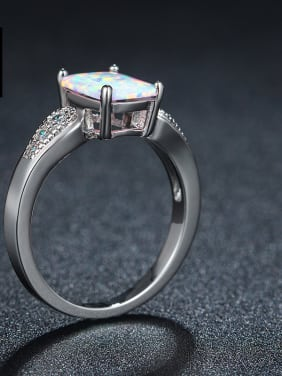 Rectangle Opal Zircons Women Fashion Classical Ring