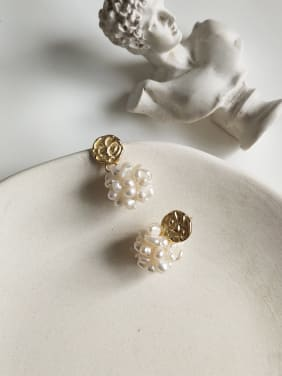 925 Sterling Silver With Gold Plated Classic Charm Stud Earrings