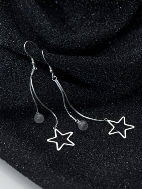 925 Sterling Silver With Platinum Plated Personality Pentagram  Hook Earrings