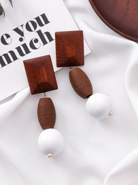 Alloy With Retro-exaggerated square geometry woody ball personality Earrings