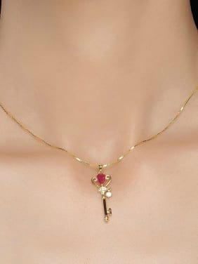 Key-shape Gold Plated Natural Ruby Silver Pendant
