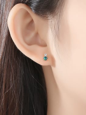 925 Sterling Silver With Cubic Zirconia Cute Round Stud Earrings
