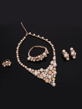 Alloy Rose Gold Plated Fashion Artificial Pearls Four Pieces Jewelry Set