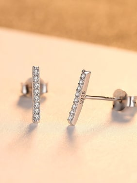 925 Sterling Silver With 18k Gold Plated Simplistic One-character  Stud Earrings