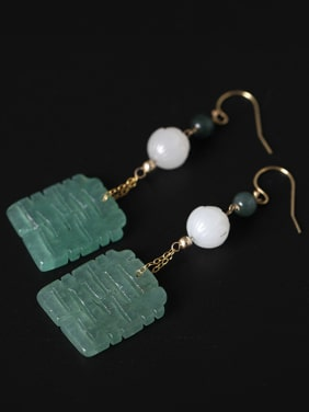 Retro style Natural Jades 925 Silver Earrings