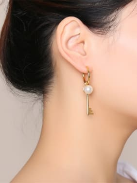 Stainless Steel With Gold Plated Simplistic Key Clip On Earrings
