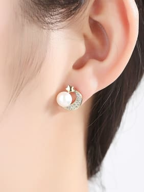 Sterling silver micro-inlay AAA zircon natural pearl star-moon earrings