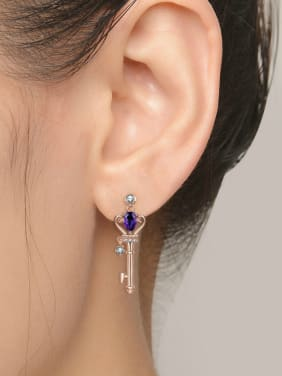 Natural Amethyst Key-shape Classical Drop Earrings
