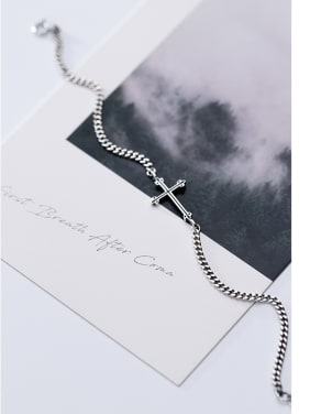 925 Sterling Silver With Antique Silver Plated Fashion Cross Bracelets
