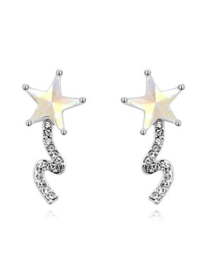 Fashion Star Swarovski Crystals Alloy Platinum Plated Stud Earring