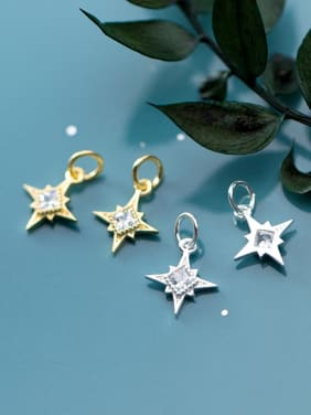 925 Sterling Silver With  Cubic Zirconia  Simplistic Star Pendants