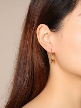 Stainless Steel With Gold Plated Simplistic Irregular Hook Earrings