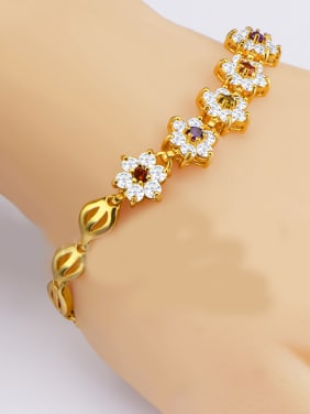 18K Gold Plated Flower Zircon Bracelet