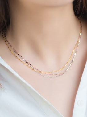 925 Sterling Silver With Gold Plated Simplistic Chain Accessories