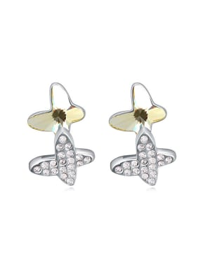Fashion Double Butterfly Swarovski Crystals-covered Stud Earrings