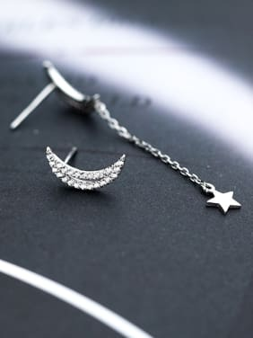 Temperament Moon And Star Shaped Rhinestones Asymmetric Drop Earrings